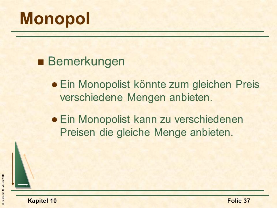 Monopol Bemerkungen. Ein Monopolist könnte zum gleichen Preis verschiedene Mengen anbieten.