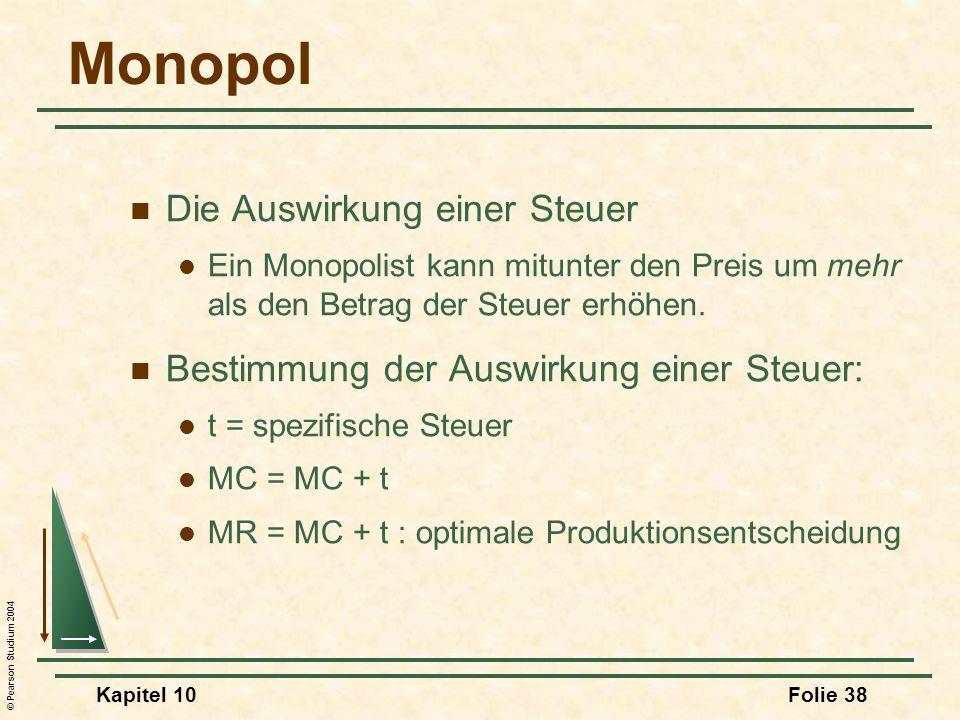 Monopol Die Auswirkung einer Steuer