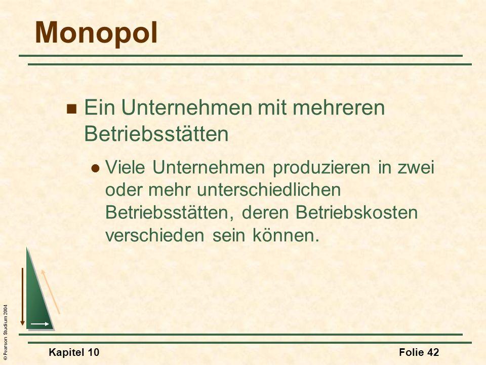 Monopol Ein Unternehmen mit mehreren Betriebsstätten