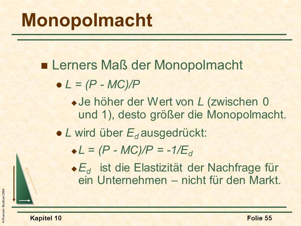 Monopolmacht Lerners Maß der Monopolmacht L = (P - MC)/P