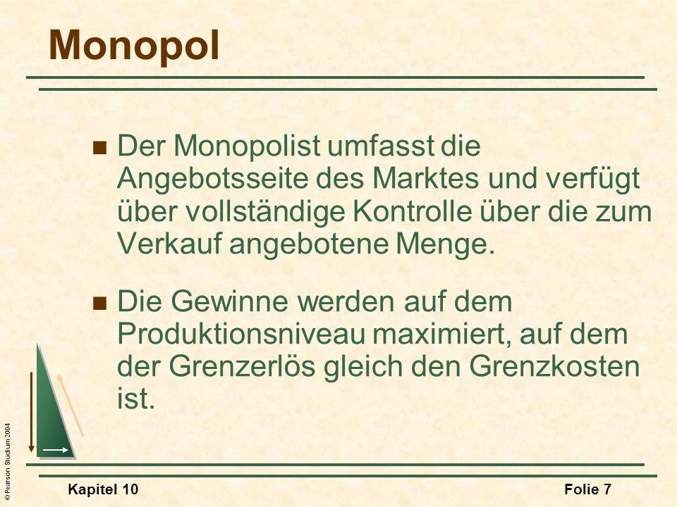 Monopol Der Monopolist umfasst die Angebotsseite des Marktes und verfügt über vollständige Kontrolle über die zum Verkauf angebotene Menge.