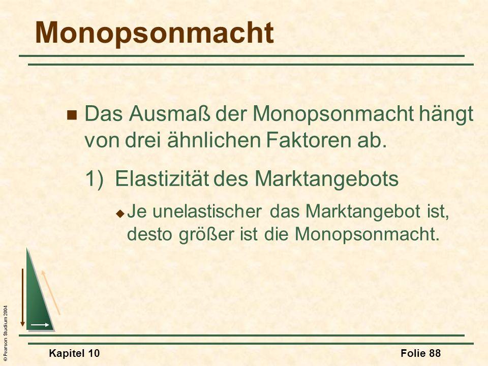 MonopsonmachtDas Ausmaß der Monopsonmacht hängt von drei ähnlichen Faktoren ab. 1) Elastizität des Marktangebots.