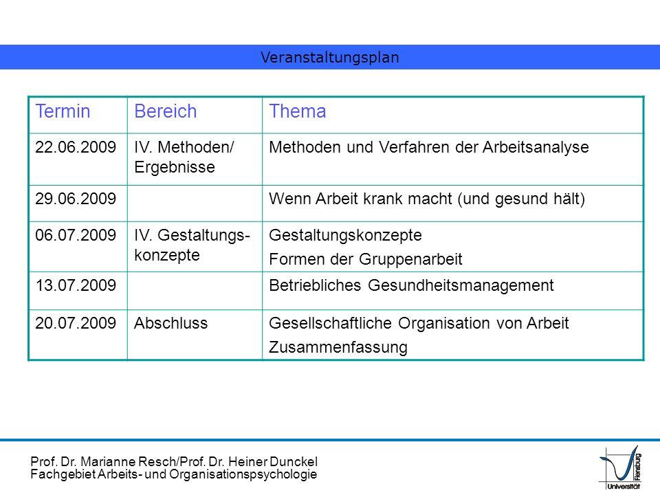Termin Bereich Thema 22.06.2009 IV. Methoden/ Ergebnisse