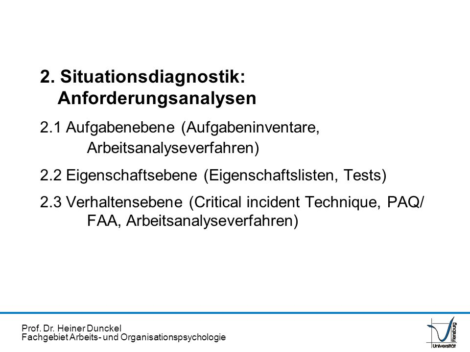 2. Situationsdiagnostik: Anforderungsanalysen