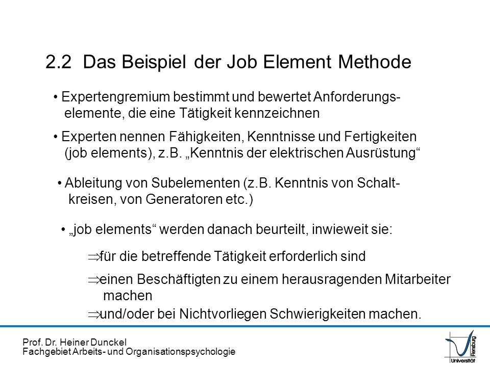 2.2 Das Beispiel der Job Element Methode