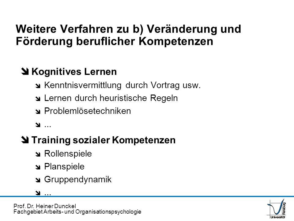Weitere Verfahren zu b) Veränderung und Förderung beruflicher Kompetenzen