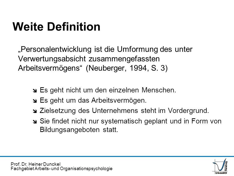"""Weite Definition """"Personalentwicklung ist die Umformung des unter Verwertungsabsicht zusammengefassten Arbeitsvermögens (Neuberger, 1994, S. 3)"""