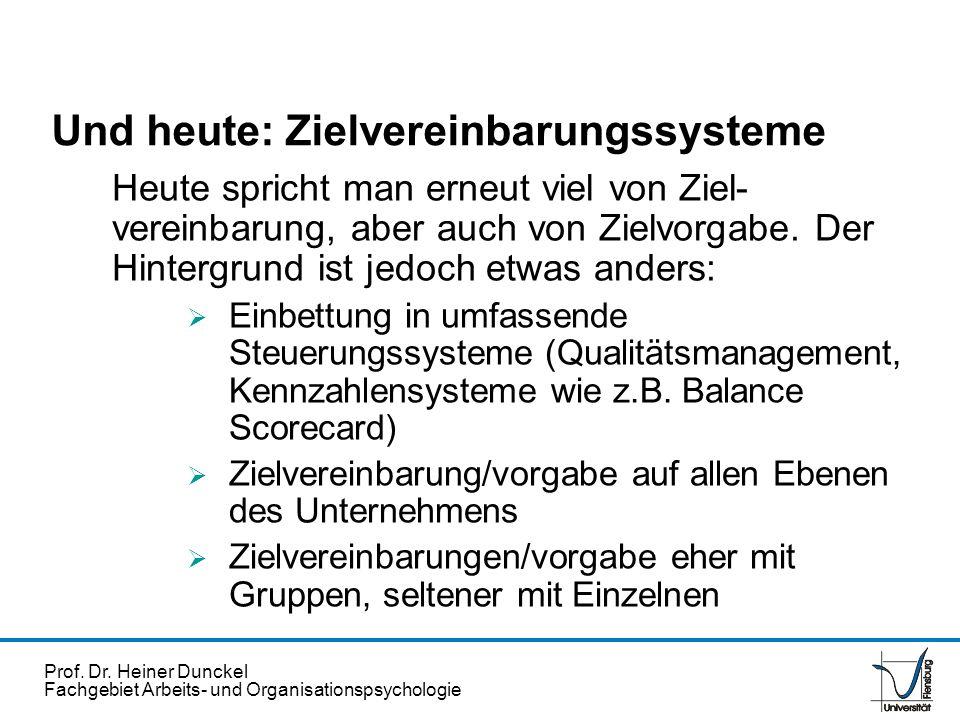 Und heute: Zielvereinbarungssysteme