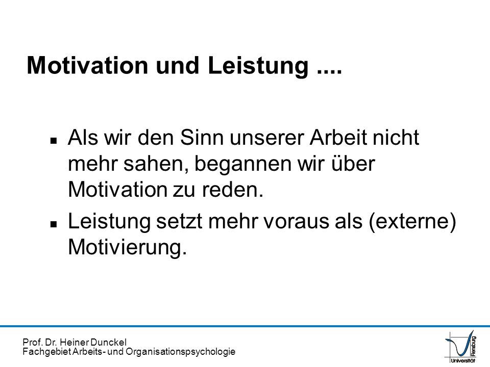 Motivation und Leistung ....