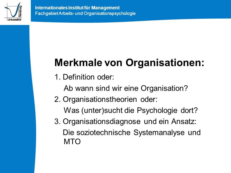 Merkmale von Organisationen:
