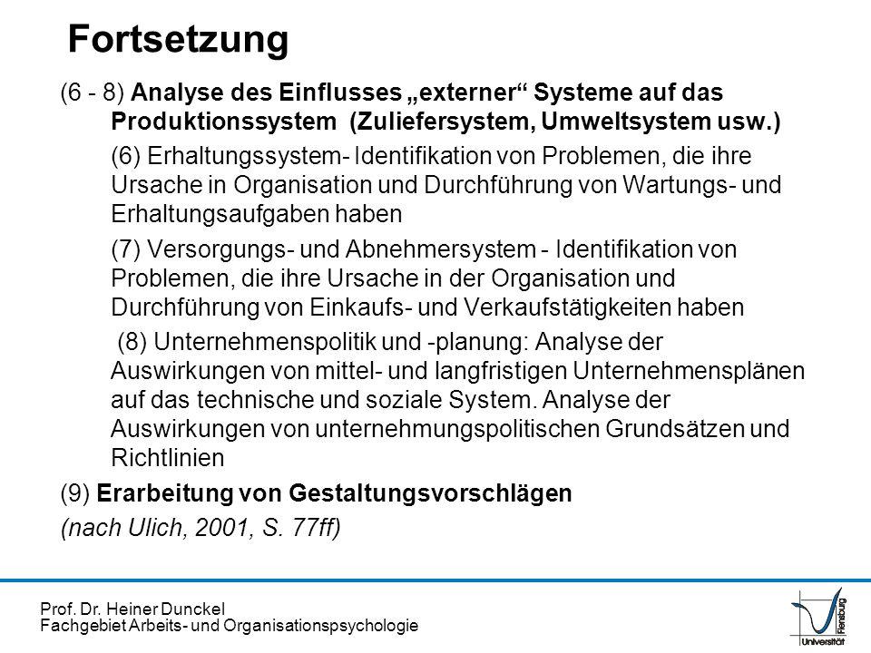 """Fortsetzung (6 - 8) Analyse des Einflusses """"externer Systeme auf das Produktionssystem (Zuliefersystem, Umweltsystem usw.)"""