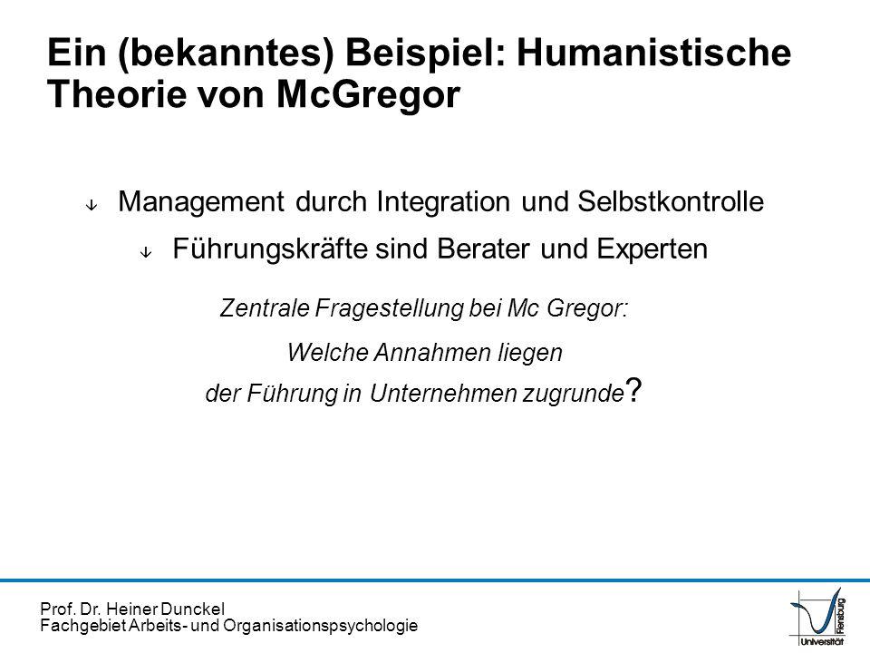 Ein (bekanntes) Beispiel: Humanistische Theorie von McGregor