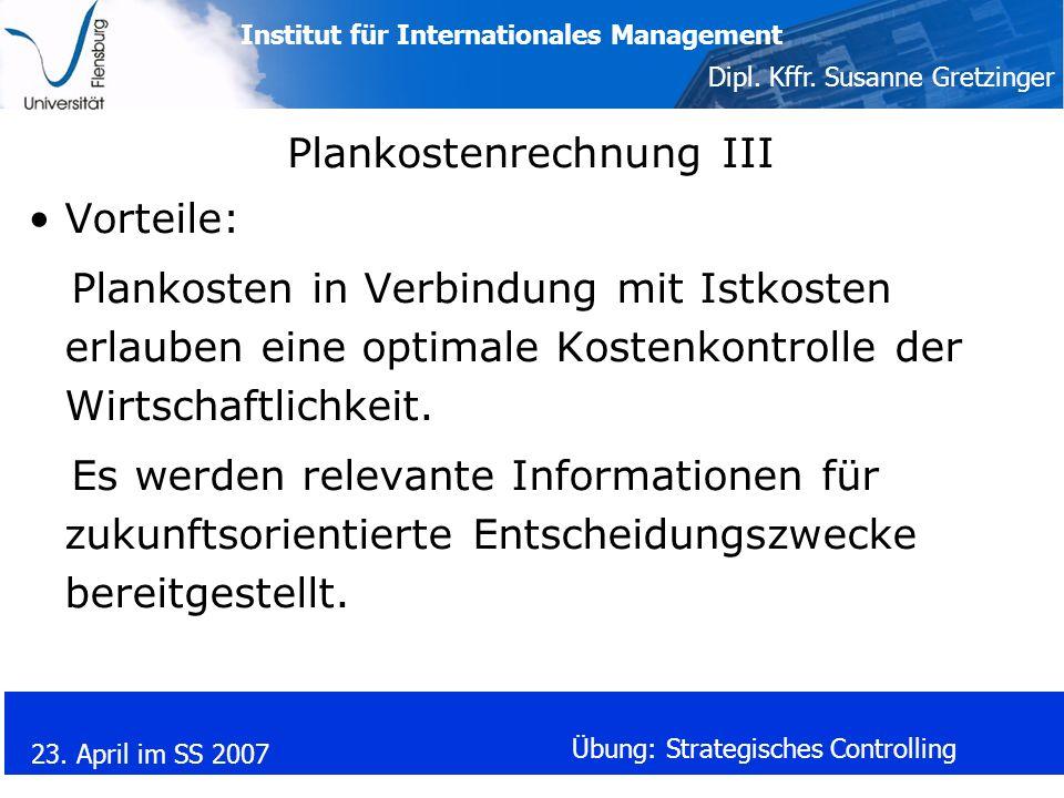 Plankostenrechnung III