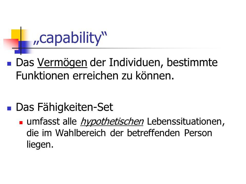 """""""capability Das Vermögen der Individuen, bestimmte Funktionen erreichen zu können. Das Fähigkeiten-Set."""