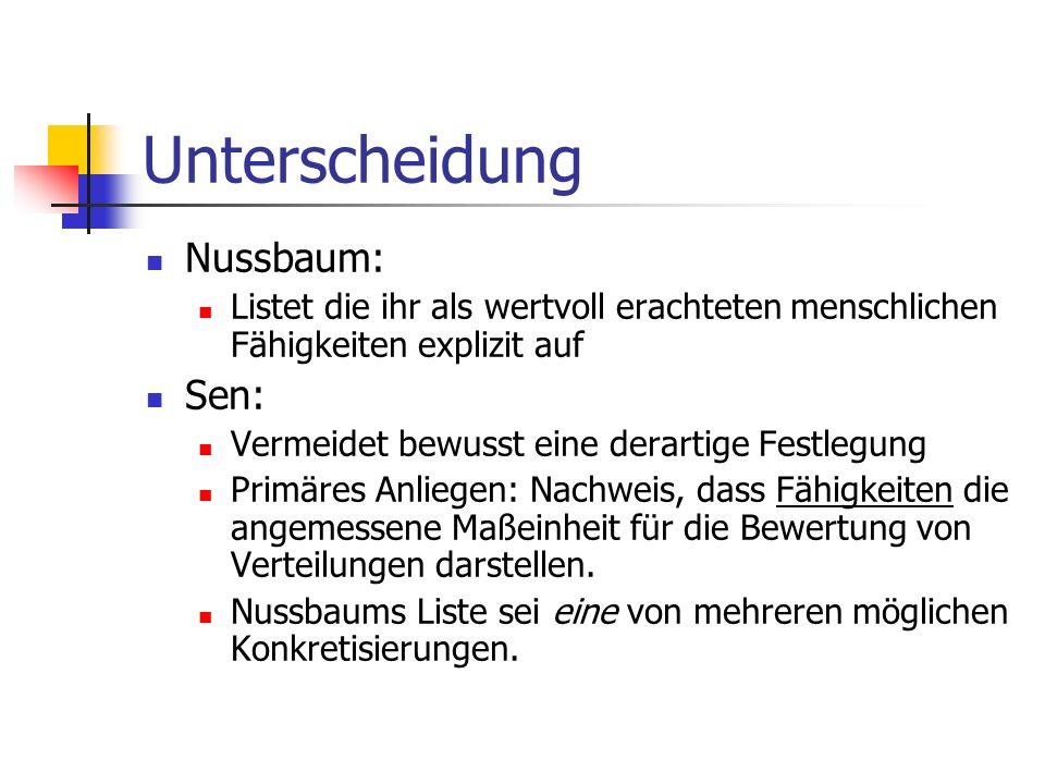 Unterscheidung Nussbaum: Sen: