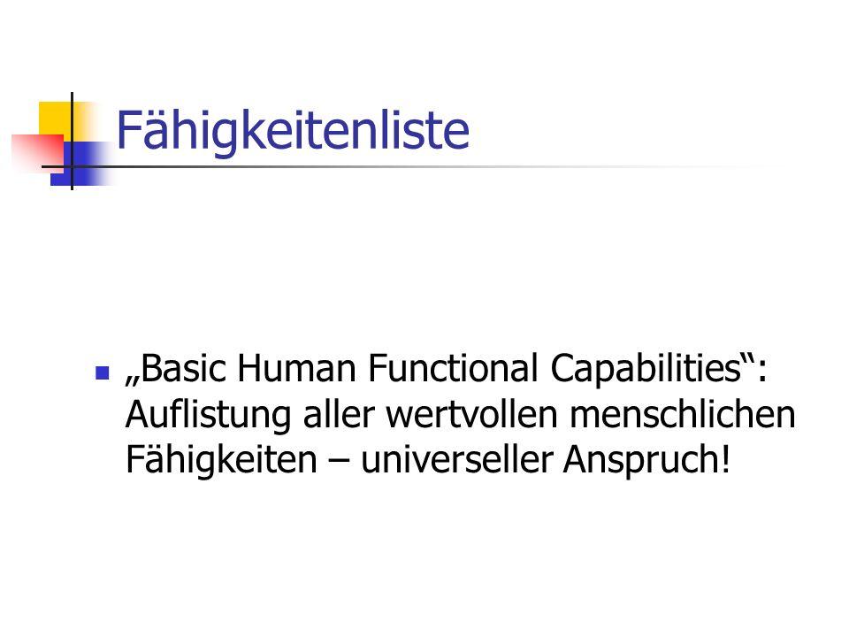 """Fähigkeitenliste """"Basic Human Functional Capabilities : Auflistung aller wertvollen menschlichen Fähigkeiten – universeller Anspruch!"""