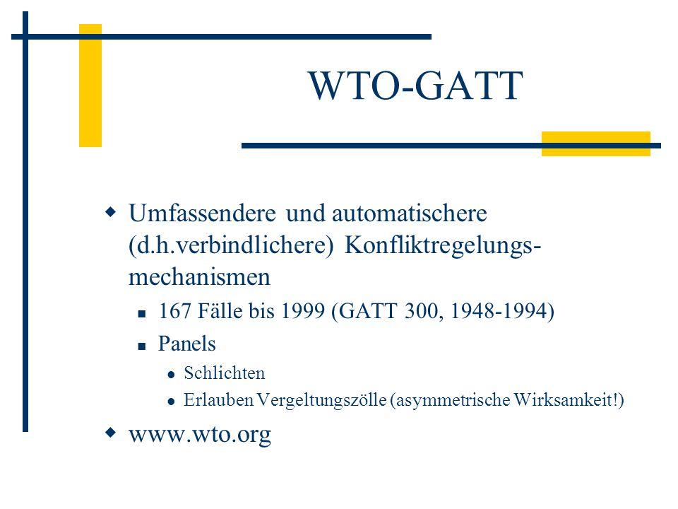 WTO-GATT Umfassendere und automatischere (d.h.verbindlichere) Konfliktregelungs-mechanismen. 167 Fälle bis 1999 (GATT 300, 1948-1994)