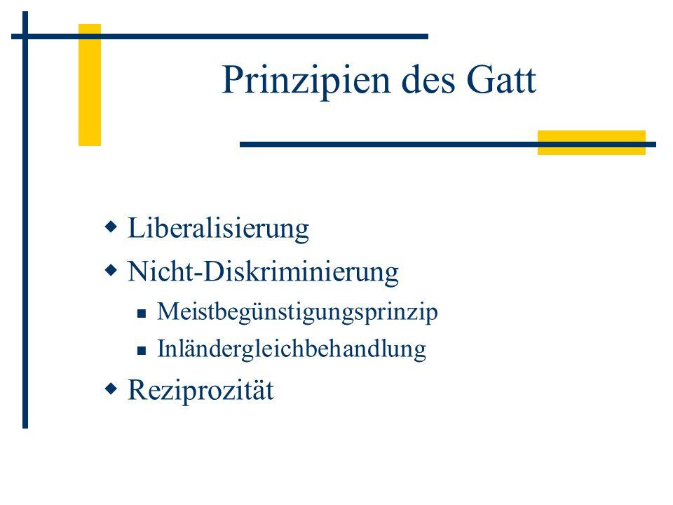 Prinzipien des Gatt Liberalisierung Nicht-Diskriminierung Reziprozität