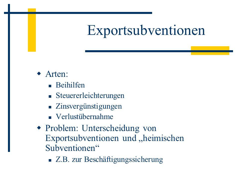 Exportsubventionen Arten: