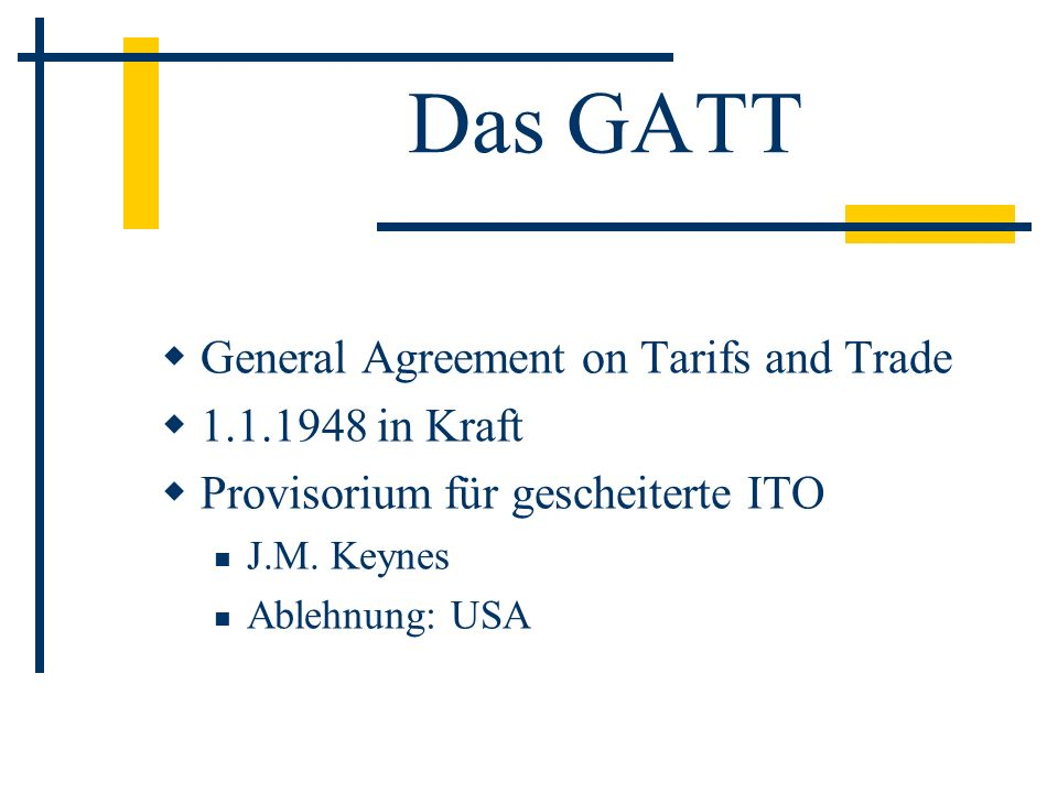 Das GATT General Agreement on Tarifs and Trade 1.1.1948 in Kraft