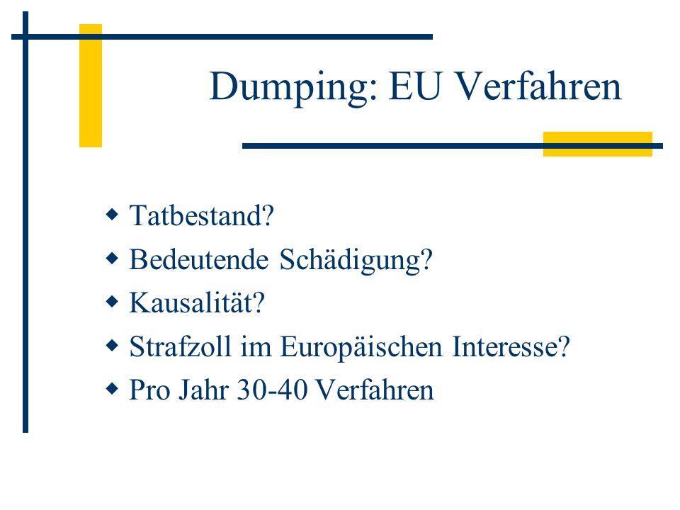 Dumping: EU Verfahren Tatbestand Bedeutende Schädigung Kausalität