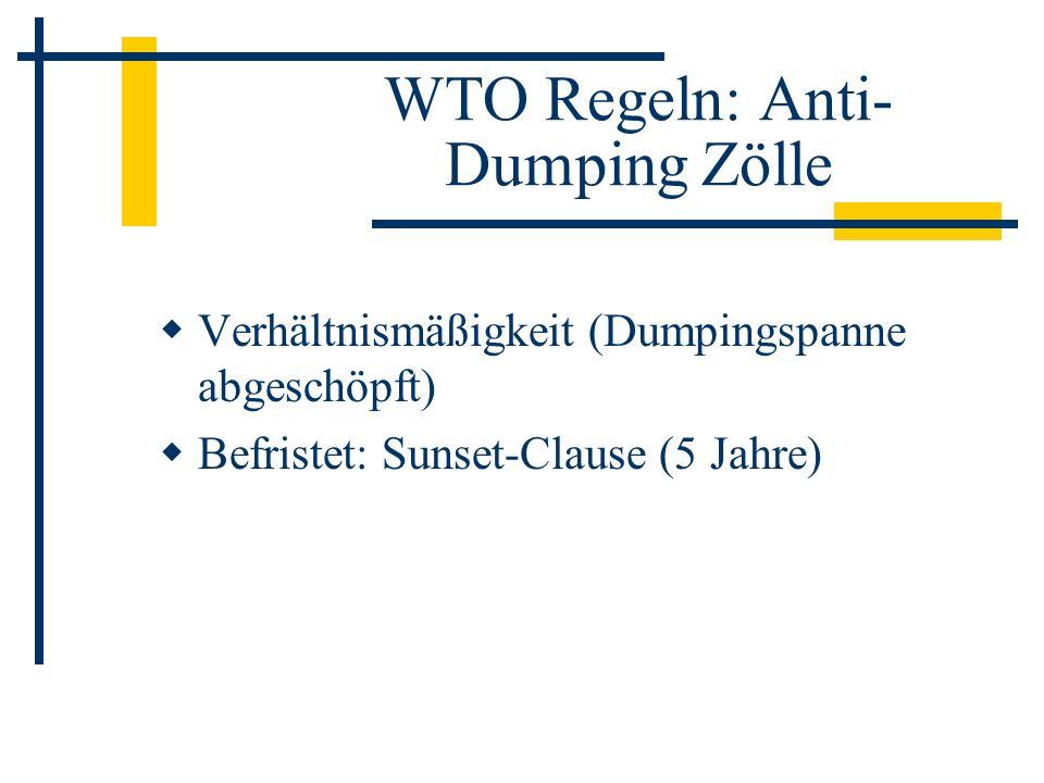 WTO Regeln: Anti-Dumping Zölle