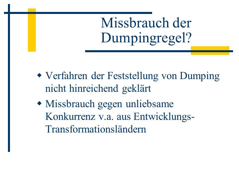 Missbrauch der Dumpingregel