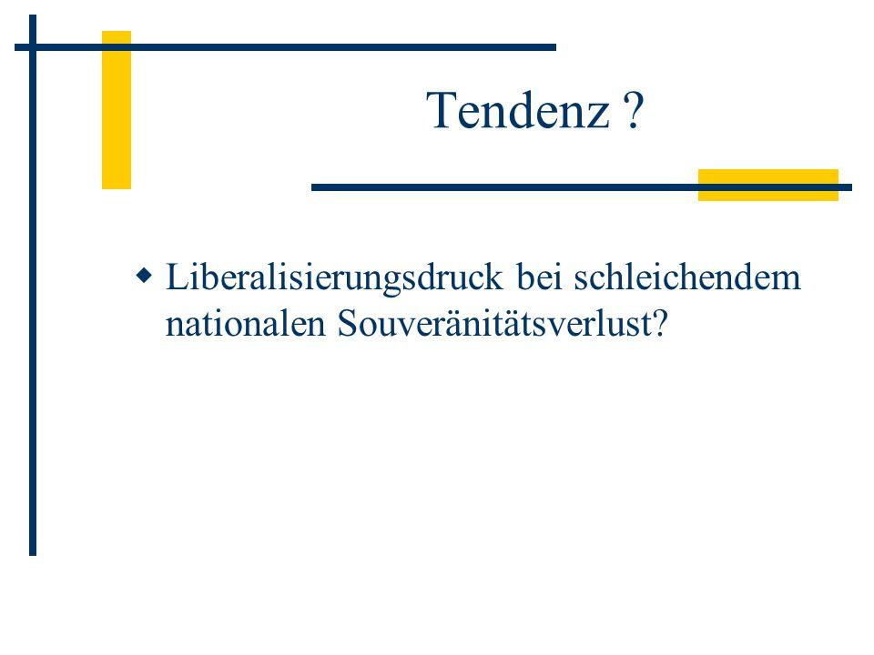 Tendenz Liberalisierungsdruck bei schleichendem nationalen Souveränitätsverlust