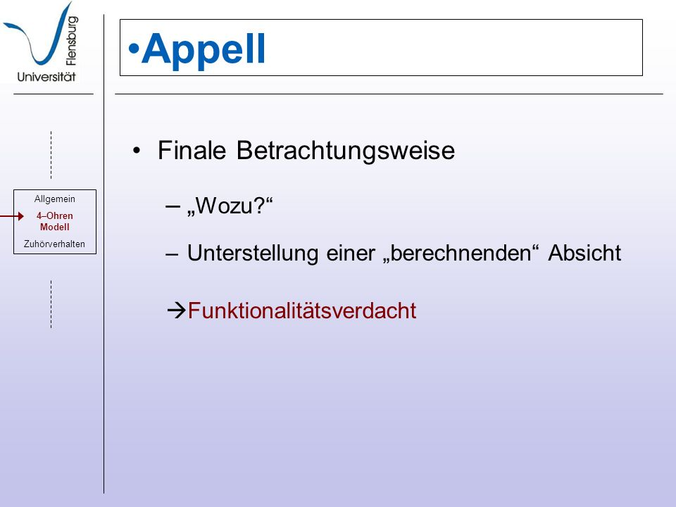 "Appell Finale Betrachtungsweise ""Wozu"
