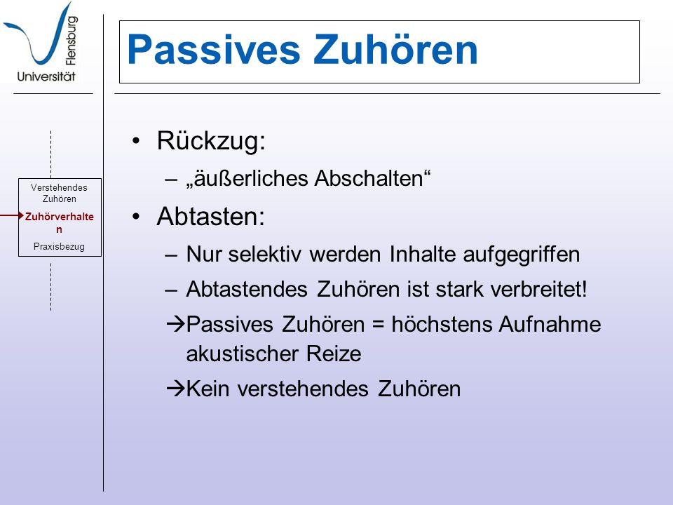 """Passives Zuhören Rückzug: Abtasten: """"äußerliches Abschalten"""