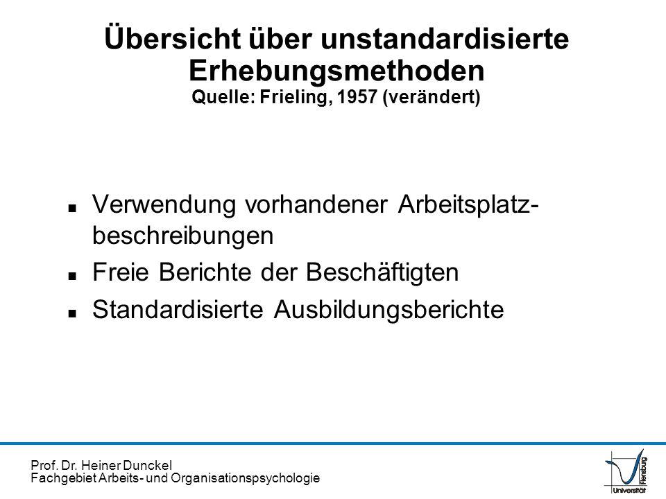 Übersicht über unstandardisierte Erhebungsmethoden Quelle: Frieling, 1957 (verändert)