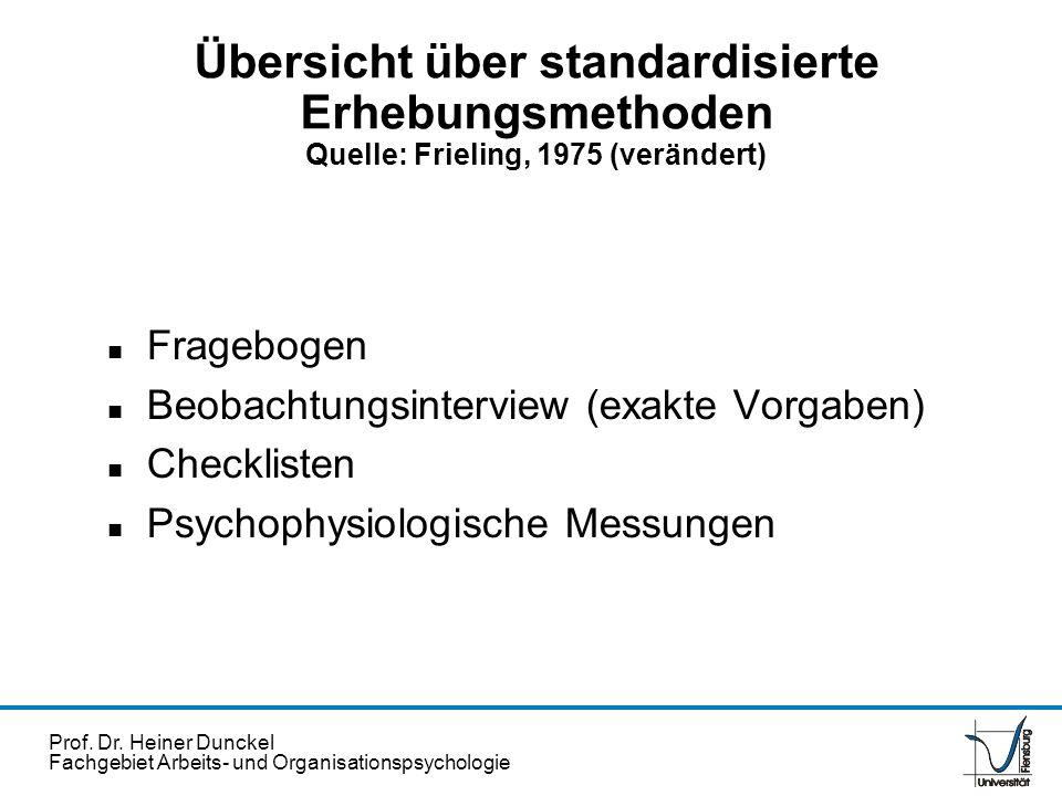 Übersicht über standardisierte Erhebungsmethoden Quelle: Frieling, 1975 (verändert)