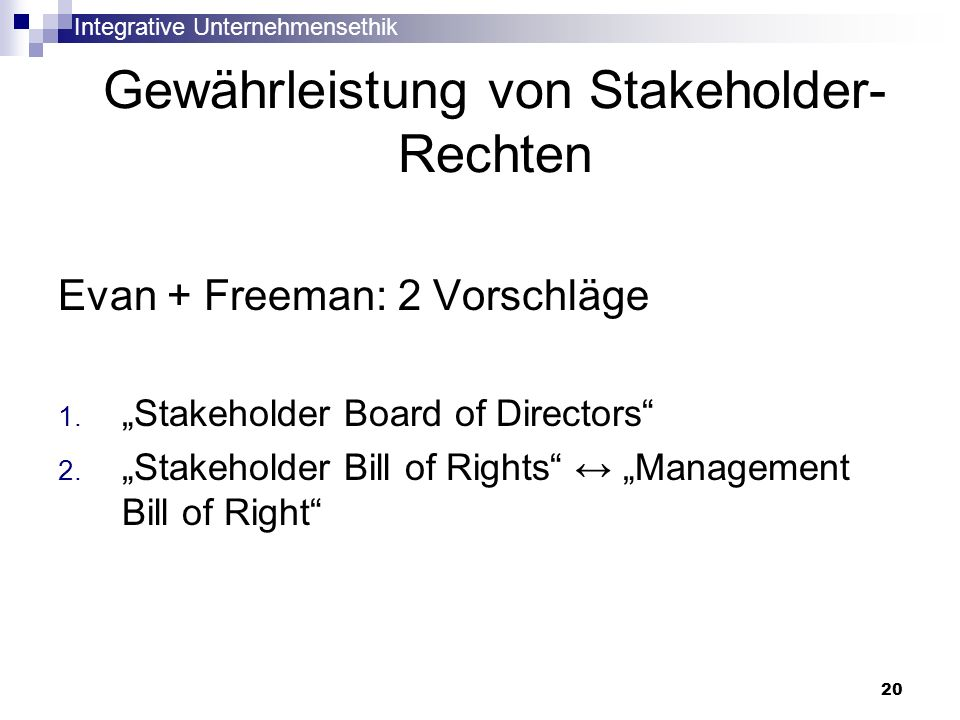 Gewährleistung von Stakeholder-Rechten