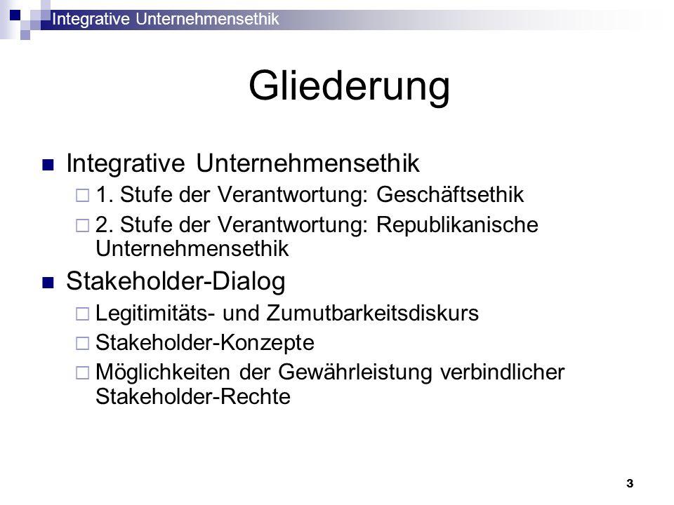 Gliederung Integrative Unternehmensethik Stakeholder-Dialog