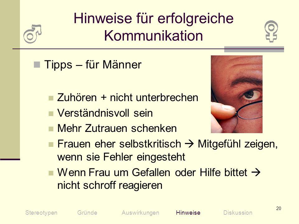 Hinweise für erfolgreiche Kommunikation