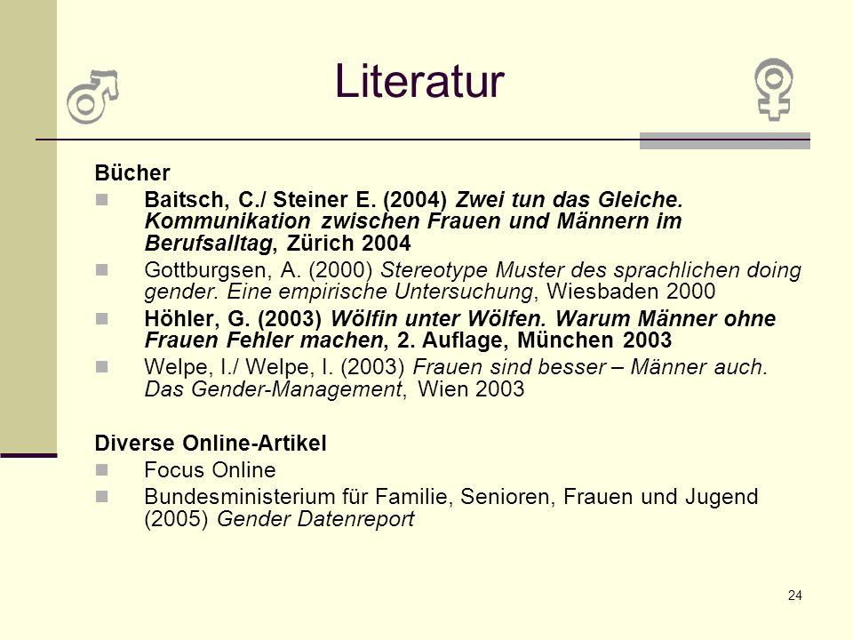 Literatur Bücher. Baitsch, C./ Steiner E. (2004) Zwei tun das Gleiche. Kommunikation zwischen Frauen und Männern im Berufsalltag, Zürich 2004.
