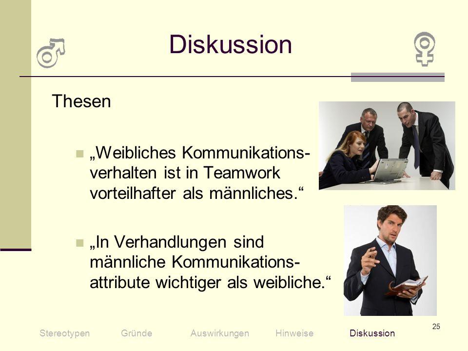 """Diskussion Thesen. """"Weibliches Kommunikations- verhalten ist in Teamwork vorteilhafter als männliches."""