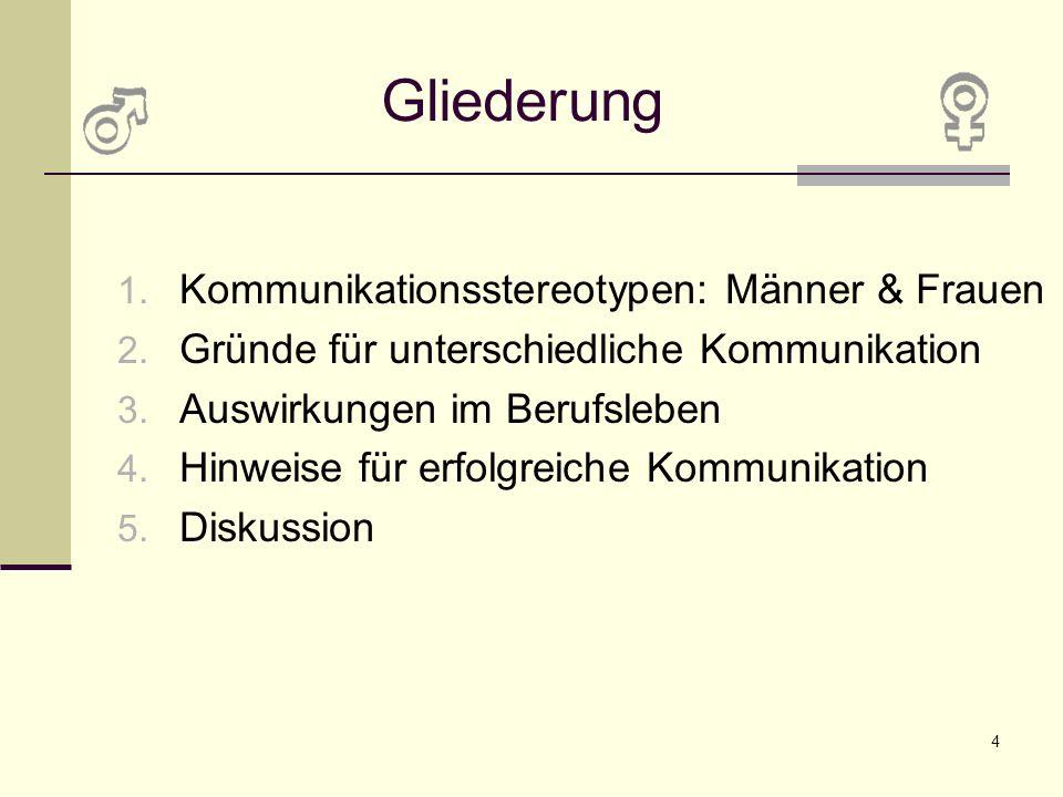 Gliederung Kommunikationsstereotypen: Männer & Frauen