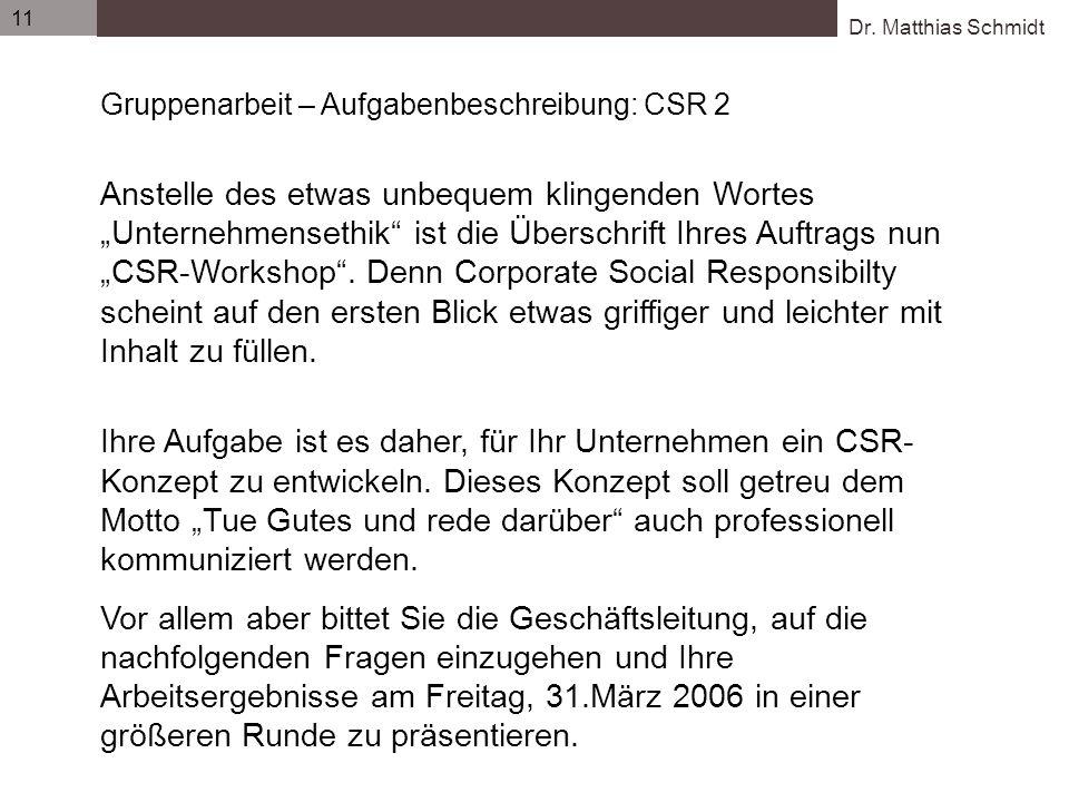 Gruppenarbeit – Aufgabenbeschreibung: CSR 2