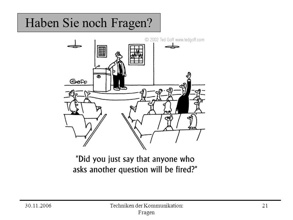 Techniken der Kommunikation: Fragen