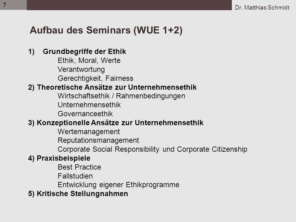 Aufbau des Seminars (WUE 1+2)