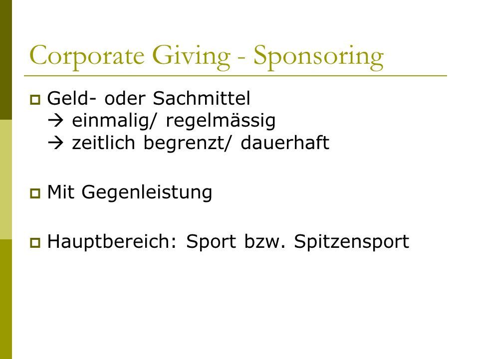 Corporate Giving - Sponsoring
