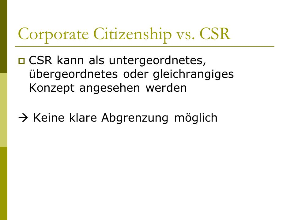 Corporate Citizenship vs. CSR