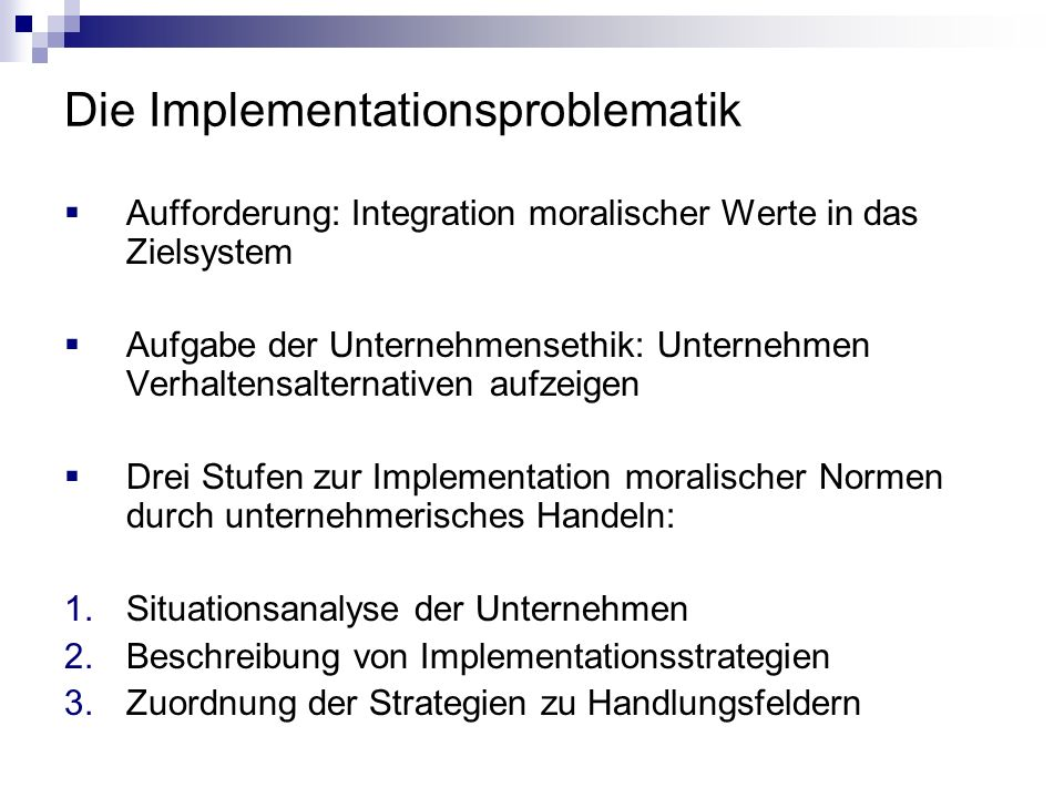 Die Implementationsproblematik