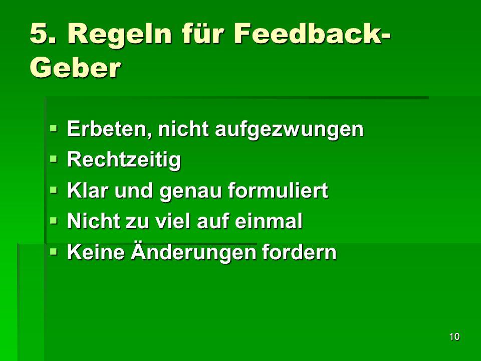 5. Regeln für Feedback-Geber