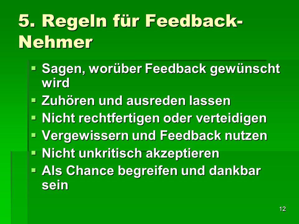 5. Regeln für Feedback-Nehmer