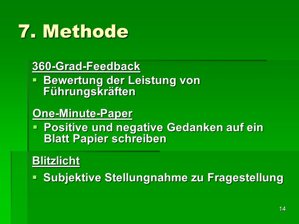 7. Methode 360-Grad-Feedback