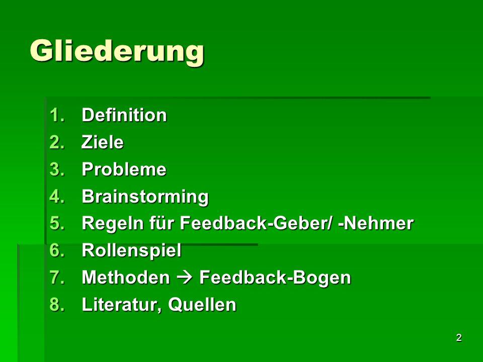Gliederung Definition Ziele Probleme Brainstorming