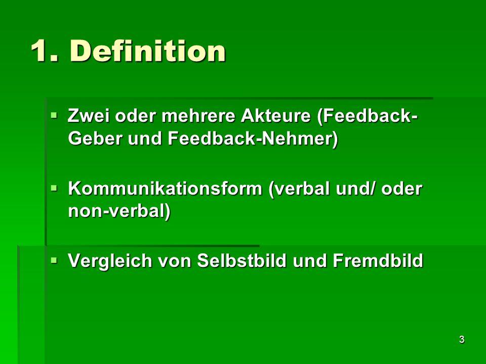 1. Definition Zwei oder mehrere Akteure (Feedback-Geber und Feedback-Nehmer) Kommunikationsform (verbal und/ oder non-verbal)