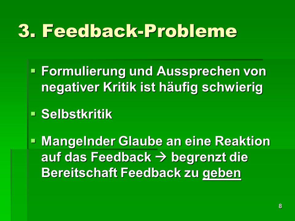 3. Feedback-Probleme Formulierung und Aussprechen von negativer Kritik ist häufig schwierig. Selbstkritik.